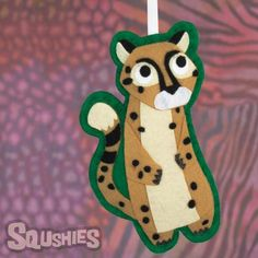 Darby the Cheetah - Felt Animal Ornament - Squshies  This cute felt zoo animal is handmade from Eco-Fi Felt. Use this playful cheetah ornament as a Christmas decoration, stocking stuffer, or a fun gift for an animal lover.  #cheetah #feltanimal #thesqushies #feltornament #cheetahornament #handmadegifts #shopsmall #animalloversgift #zookeepergift #animalornament #feltanimalornament #feltChristmasornament #Christmasornament