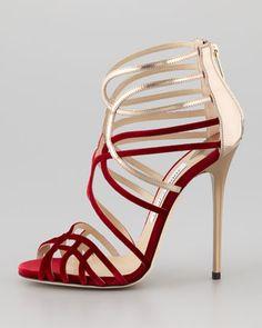 amore.    jimmy choo  Maury Velvet & Leather Sandal - Neiman Marcus