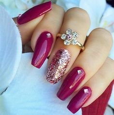 Make your nail polish pop with a single glitter accent and ring.