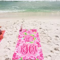 Monogram Lilly towel on the beach! Perfect!