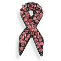Pink crystal Breast Cancer Awareness Ribbon pin.