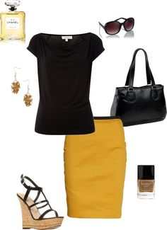 Loving the Black with Sunflower Yellow Skirt