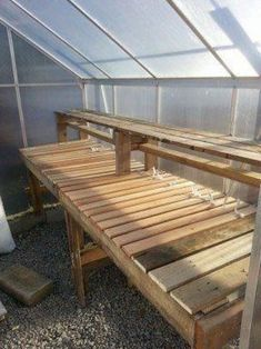My diy greenhouse shelf made from pallets and bunky boards. I wonder if this would be good for the garage : My diy greenhouse shelf made from pallets and bunky boards. I wonder if this would be good for the garage