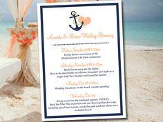 "Beach Wedding Itinerary Template Wedding Planner ""Anchor Love"" Drk Navy Persian Melon Destination Wedding Coordinator Wedding Guest Gift Bag by PaintTheDayDesigns on Etsy"