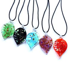 3539ef9c8346 Hot Sale 2015 Handmade Lampwork Glass Pendants with lucky Gold Sand Leaf  Mixed Color Pendant Necklace Women Jewelry Wholesale