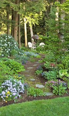 Cozy shade garden. Lovely place to get away. ~ What I want to do if we get the property behind us.