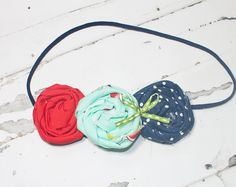 Summertime Fun - headband in navy blue, salmon pink, red, lime green  - M2M Caroline Kate So Tweet Dress (RTS) by SoTweetDesigns on Etsy