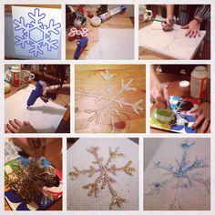 Glue gun snowflakes with glitter!