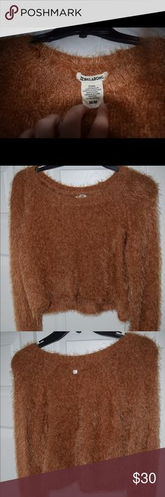 Billabong Boho Fuzzy Orange Cropped Sweater Boho Fuzzy Orange Cropped Sweater From Billabong, Worn Once, Size Medium, Super Cute & Cozy For Colder Days At The Beach Or On The Boat! Billabong Sweaters