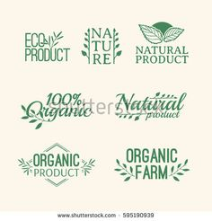 Logotype set. Badges, labels , with plants elements, wreaths and laurels green branches. Design template for for natural products. Farms, organic and bio sign. Herb and leaves decoration. Vector
