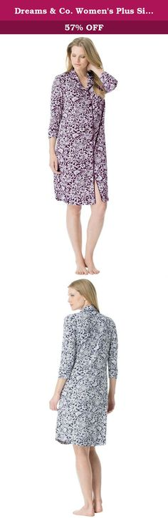 """Dreams & Co. Women's Plus Size Cool Touch Print Sleepshirt Midnight Berry. We developed this modern plus size sleepwear collection in our exclusive new cooling knit to keep you comfortable through the night. The beautiful prints, incredible softness and cool feel of this plus size sleepshirt will make lounging your favorite activity. our new Modern stretch design lies closer to the body for a more fitted look 40"""" long keeps you cozy down to your mid knees button front with notched rounded..."""