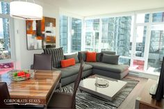 The Alto Apartment features two spacious bedrooms and an incredible view Furnished Apartment, Rental Apartments, Great Rooms, Cosmos, Storage Spaces, Vancouver, Couch, Living Room, Luxury