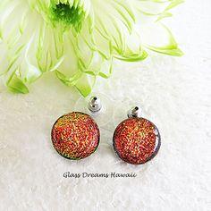 Shimmery Russet Glass Stud Earrings Fused by GlassDreamsHawaii #etsyjewelry #handmadehour #integritytt @EarthRT @MDFDRetweets