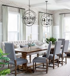 Get inspired by Rustic Dining Room Design photo by Krista Watterworth Design Studio. Wayfair lets you find the designer products in the photo and get ideas from thousands of other Rustic Dining Room Design photos. Cottage Dining Rooms, Farmhouse Dining Room Table, Dining Room Table Decor, Trestle Dining Tables, Dining Room Lighting, Dining Room With Bench, Grey Dining Room Chairs, Dining Table Bench Seat, Dining Table Chandelier
