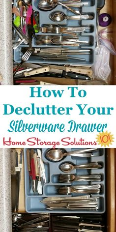 How to #declutter your silverware drawer so that it is easy to keep organized from now on {#Declutter365 mission on Home Storage Solutions 101} #KitchenOrganization