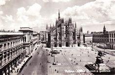 Vtg 60s Italian Travel Postcard Milan Italy Piazza Duomo e Galleria Real Photo