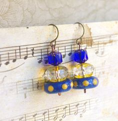 Yellow King blue earrings Lightweight Stack by CocoFlowerShop