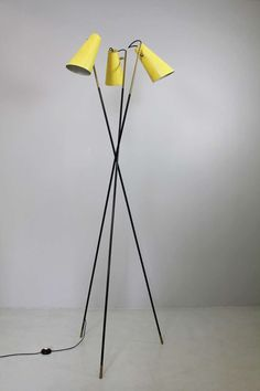 Anonymous; Brass and Enameled Metal Floor Lamp By Stilnovo, c1952.