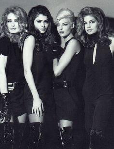 "lalinda-evangelista: "" Karen Mulder, Helena Christensen, Linda Evangelista & Cindy Crawford for Versace (1991) """