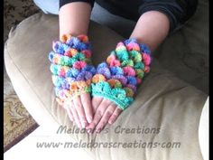 Crocodile Finger less Gloves - Crochet Tutorial Videos plus written pattern with  plenty of pics.