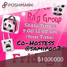 Congrats$$$@neesedragon  $$$       💞🐼Friday🐼💞 🐼Sign up with your tag @_____.                         🐼Share 10 bag items per person signed up.      🐼Sharing begins at 9am & sign out by 12pm.      🐼Share some, mark the last person shared.      🐼 If they don't have 10, share until 10 are met.    🐼 Co-Hostess is Dawn @samipoo24.                 🐼 we have sold thousands of bags and are       happy to have you! Go Pink Pandas! Please don't miss days and if so, please make them up. 2…