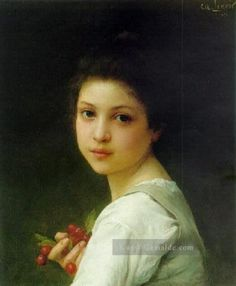 Charles Amable Lenoir Gemälde - Porträt of a young girl with cherries realistische Porträts Mädchen Charles Amable Lenoir