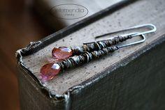 Raw Linen Stick Earrings Rustic Pink Drop Long Boho Silver Jewelry Mixed Media Luxe, Natural Linen, Quartz Drops by Letemendia