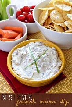 Best Ever French Onion Dip is creamy and decadent, yet easy to make. Serve with chips or crudite for a savory, satisfying homemade dip option at your next get together. | iowagirleats.com