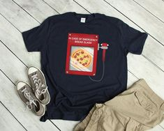 6f91364a834b Funny Emergency Pizza Tshirt Pizza tshirt Funny food Tshirt Pizza Party  Gift for college student, Pizza Tshirt