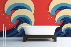 Illustrated Waves Wallpaper Wall Mural