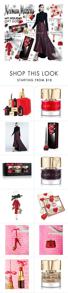 """""""The Holiday Wish List With Neiman Marcus: Contest Entry"""" by julesdiaries ❤ liked on Polyvore featuring Yves Saint Laurent, Smith & Cult, Neiman Marcus, Theia, Christian Louboutin, Soffieria de Carlini, Jonathan Adler, giftguide, contestentry and holidaystyle"""