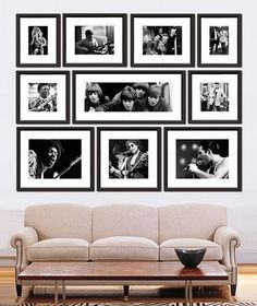 Love this photo display with simple black frames and white mattes. I enjoy how everything creates a square shape as a whole. My guess is there are two 5x7s, two 8x10s (or 8x12s), one 10x20, two 11x14s, two 10x10s, and one 12x12 or 14x14 in the bottom center.