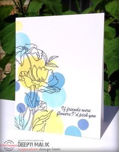Card by Deepti using Vignette: Retro Mod Shapes and Dee's Artsy Impressions Blooming Buds