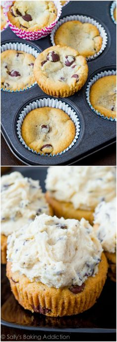 Soft-baked Chocolate Chip Cookie Cups piled high with egg-free cookie dough frosting!
