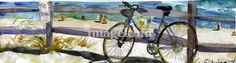A lone bike rest against a guard rail. The beach is in Cape Cod, in the town of Wellfleet. This is a fine art print of an original watercolor painting by artist Miriam Schulman.