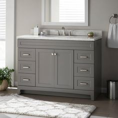 Home Remodel Fixer Upper Home Decorators Collection Thornbriar 48 in. W x 21 in. D Bathroom Vanity Cabinet in - The Home Depot.Home Remodel Fixer Upper Home Decorators Collection Thornbriar 48 in. W x 21 in. D Bathroom Vanity Cabinet in - The Home Depot Bathroom Vanity Cabinets, Bathroom Storage, Bathroom Organization, Grey Bathroom Vanity, Bathroom Mirrors, White Bathroom, Bathroom Beadboard, Lowes Bathroom, Bamboo Bathroom