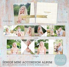 Senior Accordion Album   Mini 3x3 inch Album  by PaperLarkDesigns