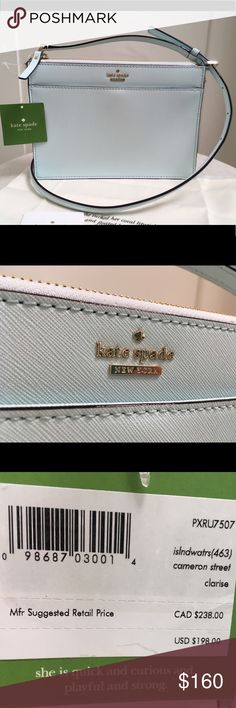 NWT Kate Spade Baby Blue Crossbody Lovely! Bag, Dust Covet and care booklet. Never used. kate spade Bags Crossbody Bags