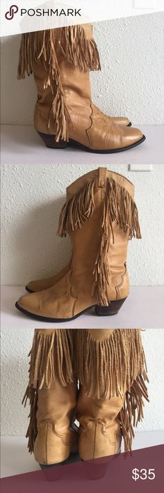 "Dingo Fringed Camel tan cowboy boots size 7 Dingo Fringed Camel tan cowboy boots size 7. Visible signs of wear, stains and scuff as shown, but gives it character 😍 , soles have a lot of life in them 1.5"" heels. Reduced price for condition. Dingo Shoes Heeled Boots"