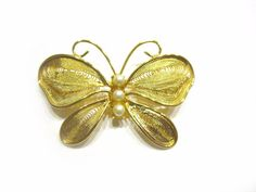 Gold Filigree Butterfly Pin Butterfly Pearl Brooch by SoBejeweled