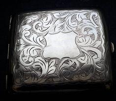 Cigarette case, silver plated card case or cigarette holder, tobacciana, EPNS , vintage engraved cigarette case. by NanaBarbarastreasure on Etsy