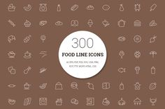 300 Food Line Icons by Creative Stall on @creativemarket