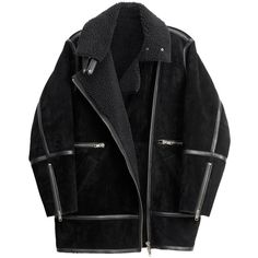 Pre-owned H&m Nwt Studio Collection Suede Pile Lined Pilot Jacket /... (560 CAD) ❤ liked on Polyvore featuring outerwear, coats, jackets, black, lined coat, black fur coat, h&m coats, slim fit coat and black coat