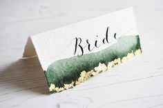 Handmade paper place card with watercolour and gold leaf edging. Calligraphy Wedding Stationery, Calligraphy Save The Dates, Calligraphy Cards, Handmade Wedding Invitations, Wedding Stationary, Modern Calligraphy, Art Deco Wedding Theme, Wedding Prints, Wedding Name Cards