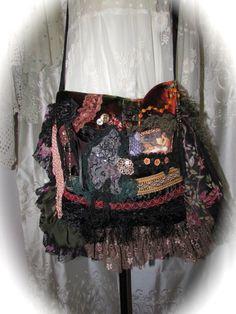 Bohemian Bag gypsy fringe bag slouchy boho shoulder by GrandmaDede