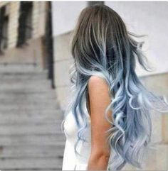 Silver-ish blue dip dyed hair