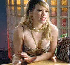 Celebrity Plunge ~ Hilary Duff pouty cleavage ~ GIF