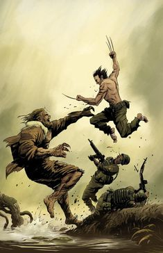 Wolverine vs Sabretooth by Emerson Dimaya