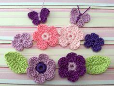 Crochet Appliques - Sample Pack Crochet Supplies, Crochet Appliques, Small Flowers, Knit Or Crochet, Crochet Flowers, Crochet Projects, Craft Supplies, Etsy Handmade, Crochet Necklace