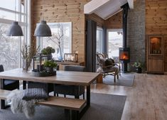 scandinavian cabin in the woods wood paneled modern chalet log home woods modern and cabin scandinavian wood cabins Style At Home, Chalet Interior, Interior Design, Modern Cabin Interior, Brown Interior, Ideas Cabaña, Room Ideas, Scandinavian Cabin, Scandinavian Design